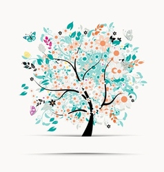 Gift card design with floral tree vector image