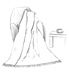 Hand drawn blanket sketch on the chair vector