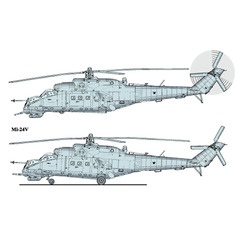 helicopter mi24 vector image vector image
