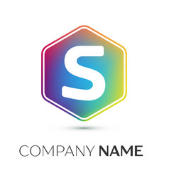 letter s logo symbol in the colorful hexagonal on vector image vector image