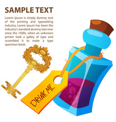 magical elixir and golden key in a glass bottle vector image vector image