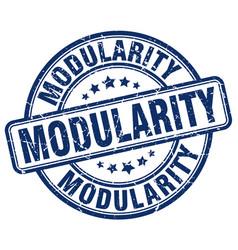 Modularity blue grunge stamp vector