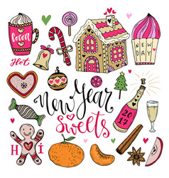 New year sweets set christmas hand drawn bright vector