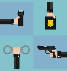 police modern design flat set vector image vector image