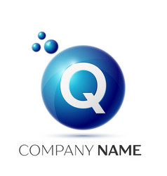 Q letter splash logo blue dots and circle bubble vector