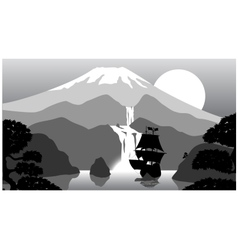 scenery of evening at mountains vector image vector image