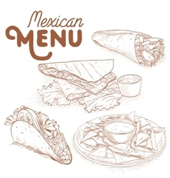 Scetch of mexican food vector image