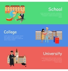 Set of Banners School College University vector image