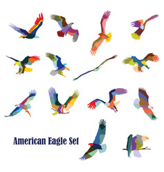 Set of colorful american eagles vector