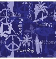 Surfing california blue seamless pattern vector