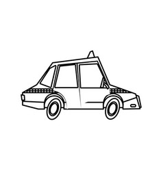 Taxi car transport public comic line vector