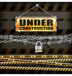 Under construction sign lock vector image