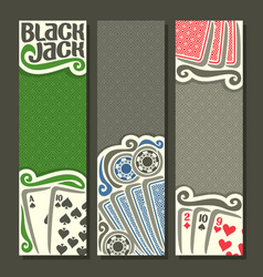 vertical banners black jack for text vector image