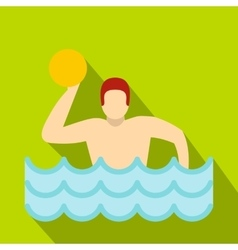 Water polo player in swimming pool icon flat style vector