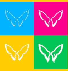 wings sign four styles of icon on vector image vector image