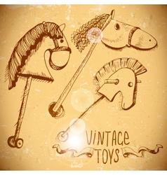 Wooden Rocking Horses vector image vector image