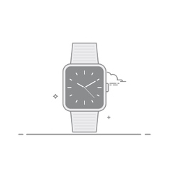 Smart watch Analog clock with a second hand and a vector image