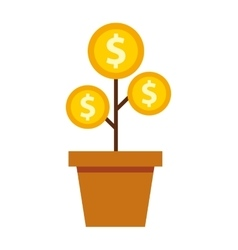 Plant with coins money vector