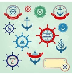 Set of nautical badges and labels logo vector image