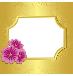 Golden frame with flowers malva vector