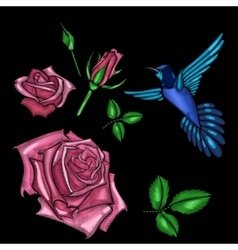 Red rose and bird embroidery vector