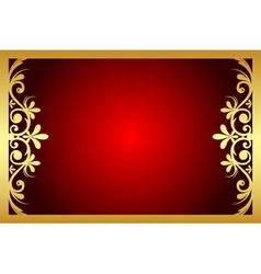 red and gold floral frame vector image