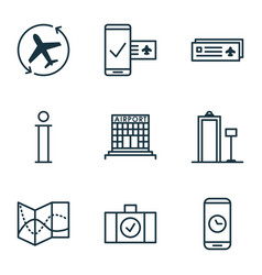 set of 9 traveling icons includes airport card vector image