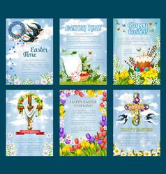 easter egg hunt invitation flyer template set vector image