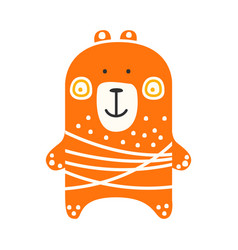 Cute orange teddy bear standing funny lovely vector