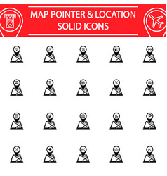 Map pointer solid icon set gps and location vector