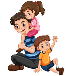 Father with daughter and son vector