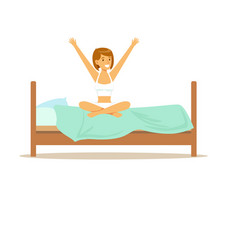 Smiling woman character waking up beginning a good vector