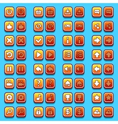 Yellow game icons buttons icons interface vector