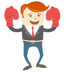 Office man wearing boxing gloves vector