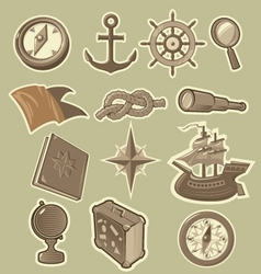 Cartoon sea exploration icons vector