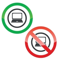 Laptop permission signs vector
