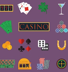 Casino and gambling icons set with slot machine vector