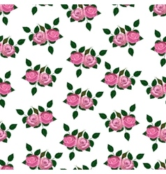 Seamless wallpaper pink roses with leaves vector