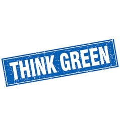 Think green blue square grunge stamp on white vector