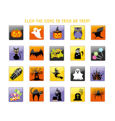 a happy halloween icon set vector image vector image