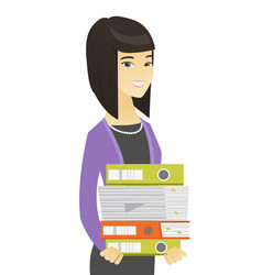 Asian business woman holding pile of folders vector