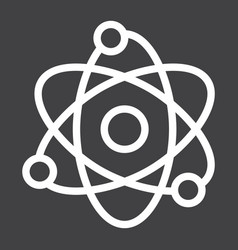 Atom line icon education and physics vector