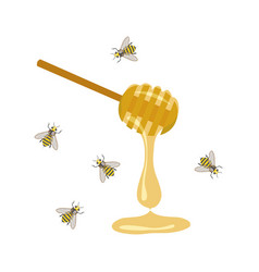 Bee and honey spoon vector