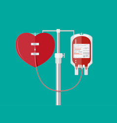 Blood bag and heart at holder vector