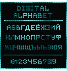 Blue digital cyrillic alphabet vector