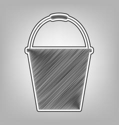 Bucket sign for garden pencil sketch vector