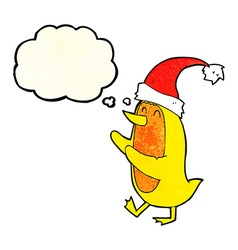 cartoon bird wearing xmas hat with thought bubble vector image