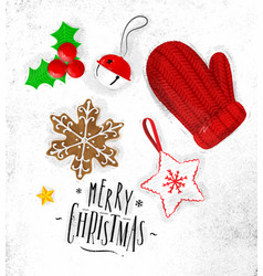 christmas elements glove vector image vector image