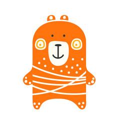 Cute orange teddy bear standing funny lovely vector