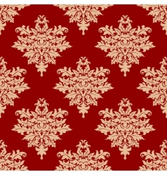 Floral beige on red seamless pattern vector image vector image